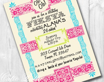 Mexican Fiesta Party Invitations, Printable Custom Invitations by Cutie Putti Paperie