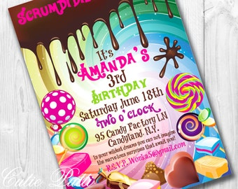 Willy Wonka Birthday Invitations | Willy Wonka Invite | Wonka Invitation | Candy Invitation | Candy Invite | Candy Party Invite