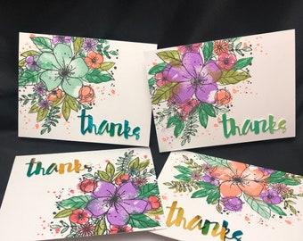 Set of 4 Handmade Greeting Card :  Thanks, Happy Birthday, Hugs, Cheers