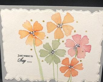 Handprinted Watercolor Notecards