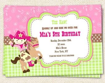 Cowgirl Birthday Invitations Invitation
