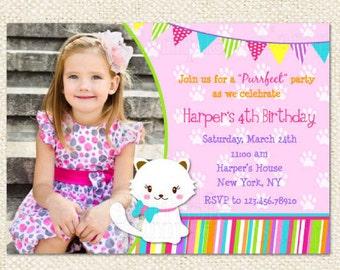 Cat birthday party invitation kitty cat birthday invites etsy kitty cat birthday invitations filmwisefo