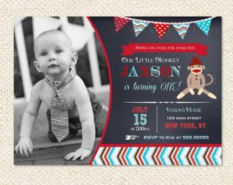 Sock Monkey Chalkboard Birthday Invitation