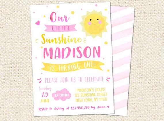 Sunshine Birthday Invites You Are My Sunshine Birthday Etsy