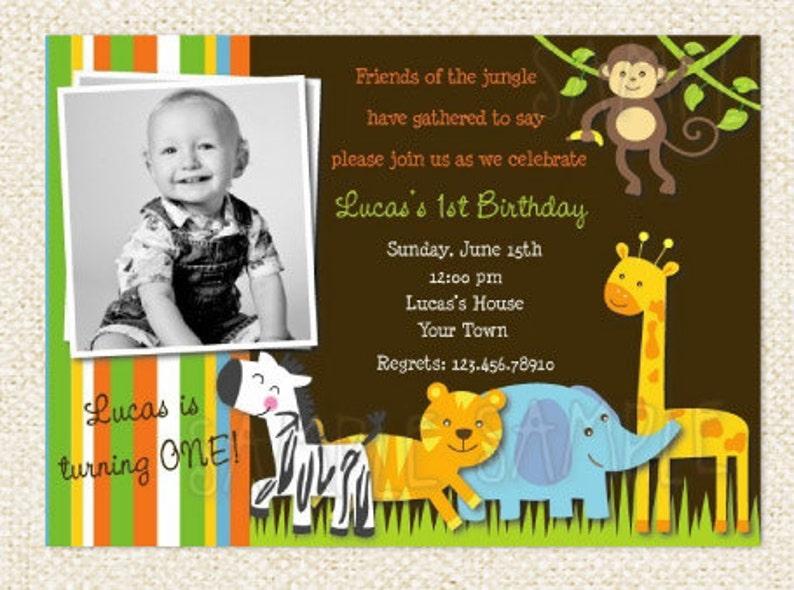Safari Jungle Animal Birthday Invitations