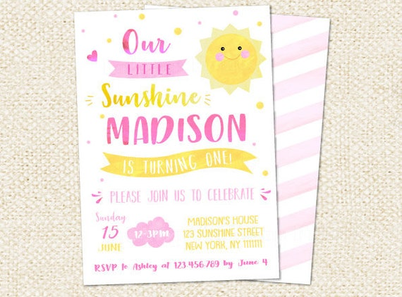 You Are My Sunshine Birthday Invitations Sunshine Invitation Etsy
