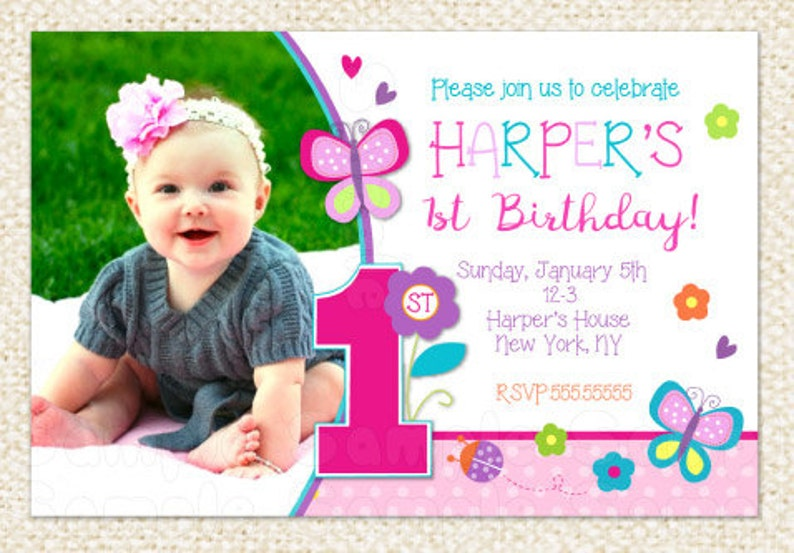 Butterfly 1st Birthday Invitations