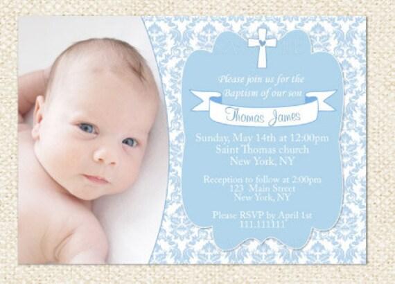 blue baptism invitation boy baptism invitation boy etsy