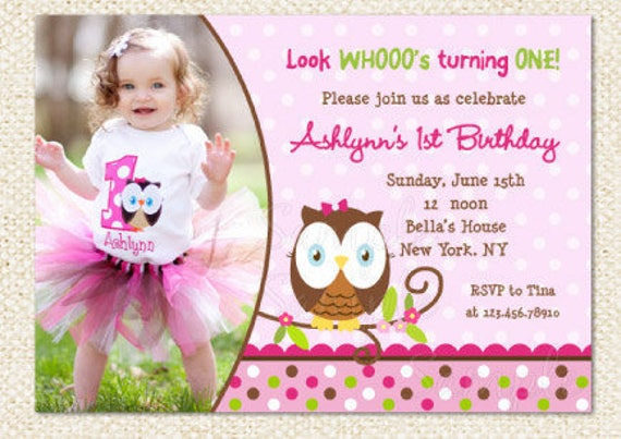 Owl Birthday Invitations Owl First Birthday Invitation Diy Etsy