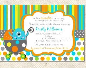 Little Monster Baby Shower Invitations