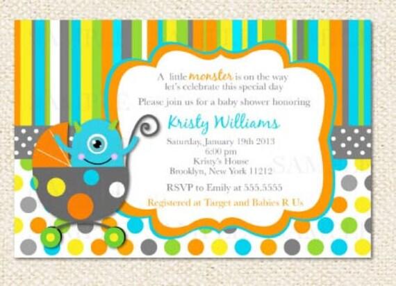 Little Monster Baby Shower Invitations Etsy