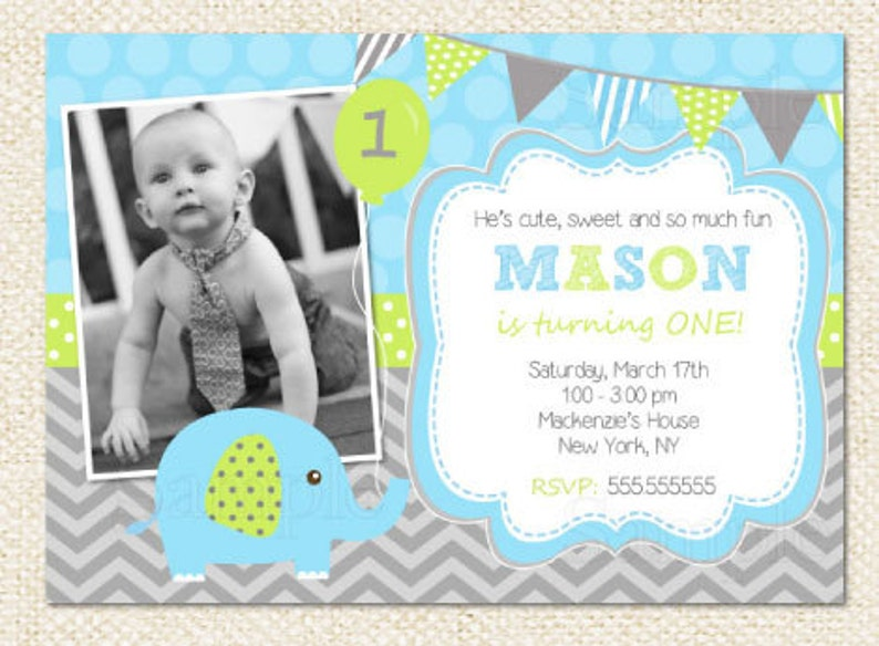 Elephant Birthday Invitations Boy
