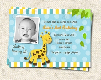 Giraffe Birthday Invitations