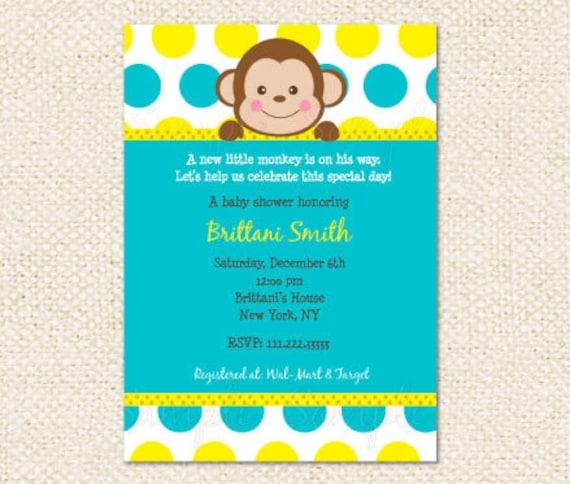 Mod Monkey Baby Shower Invitations Etsy