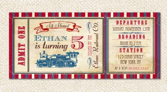 train ticket invitations train birthday party invitations etsy