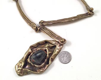 Vintage Pal Kepenyes Brass Necklace with One Stone Pendant