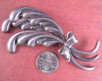 Vintage Los Castillo Taxco Three Feather Sterling Brooch