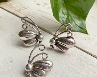 Vintage Taxco Sterling Victoria Butterfly Set Pin Earrings