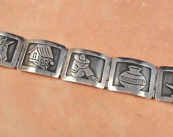 Vintage Damaso Gallegos 950 Silver Taxco Picture Bracelet