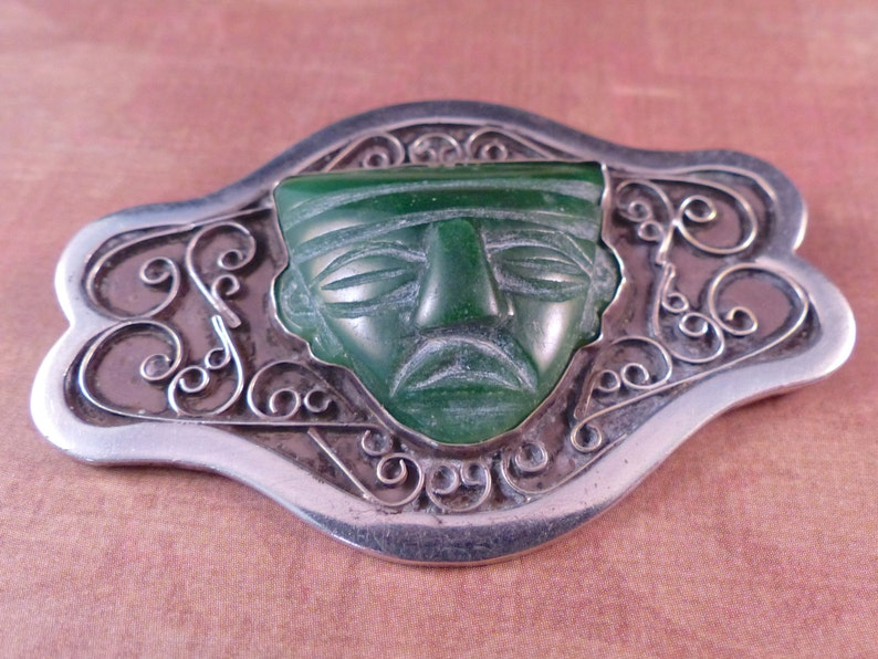 Vintage Taxco 980 Silver Carved Green Stone Brooch image 0