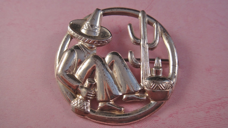 Vintage Mexican Sterling Man and Cactus Brooch image 0