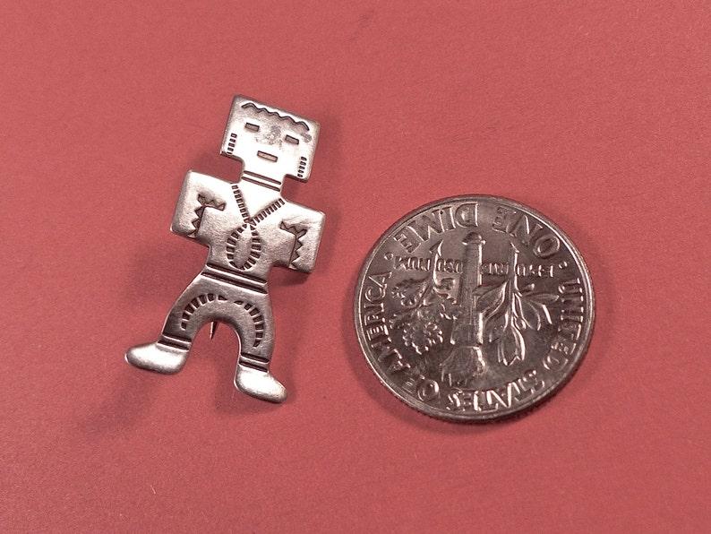 Vintage Tiny Sterling Indian Man Brooch image 0