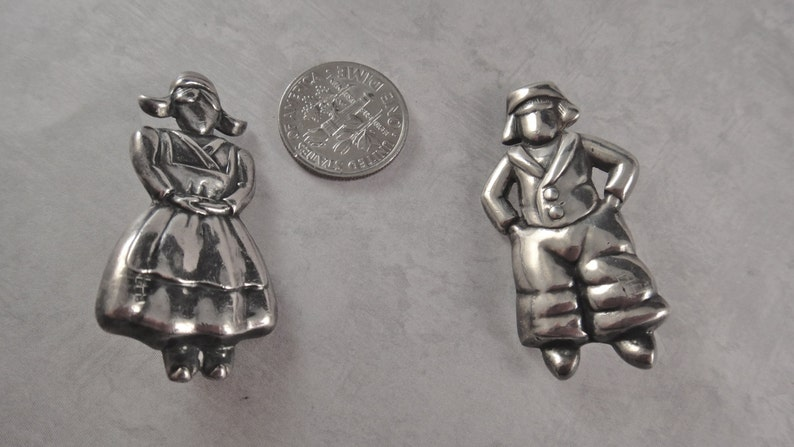 Vintage Margot de Taxco Sterling Dutch Boy and Girl Pins image 0