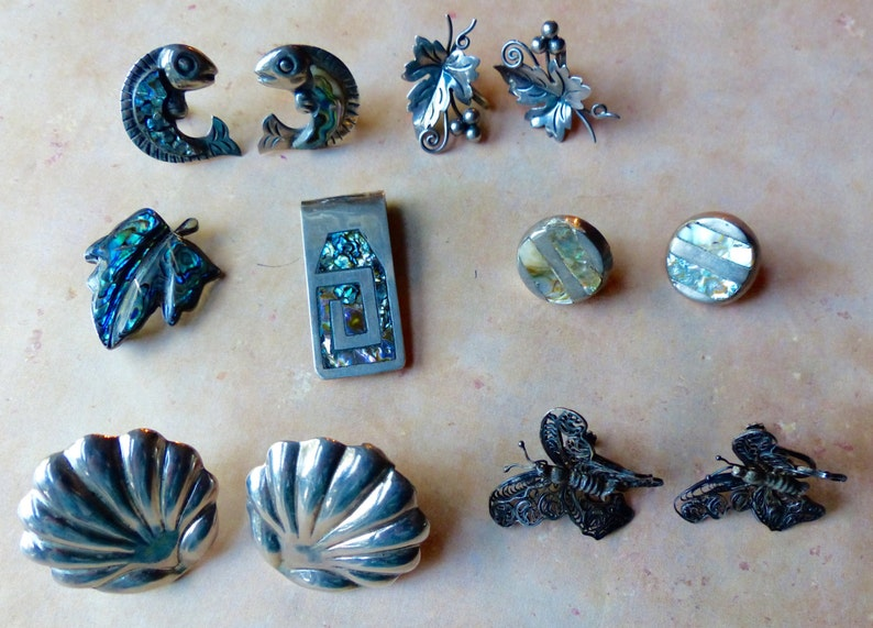 Vintage Lot of Sterling Silver Mexico Jewelry Items image 0