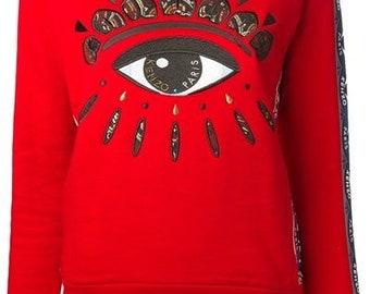Kenzo Big Eye Taped Sleeve Red Crewneck Pullover Women s Sweatshirt b9ceb413c98