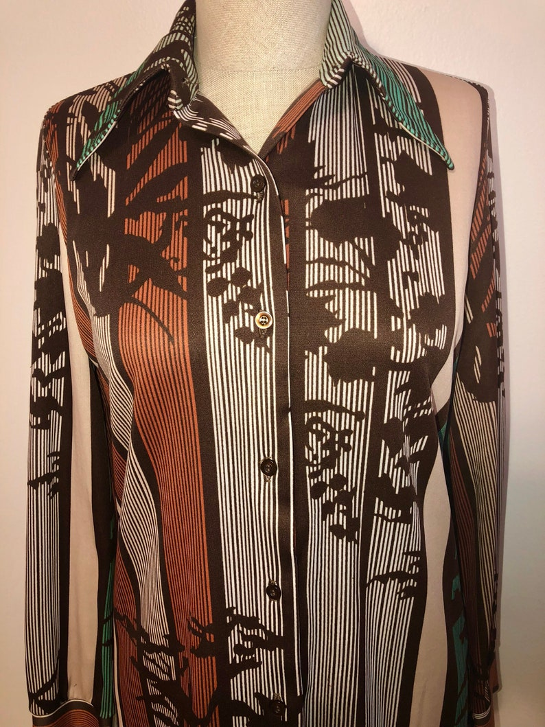 Vintage Pin Stripe Floral Abstract Print Multi Color Warm Tone Button Down Blouse 70s Retro Professional Funky Style