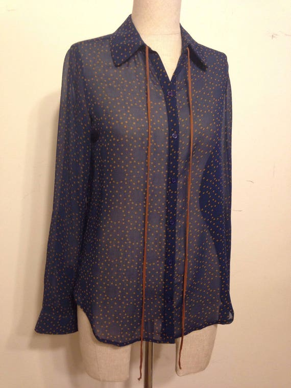 Sheer Navy Soft Blouse Button Down Vintage  Top Wi