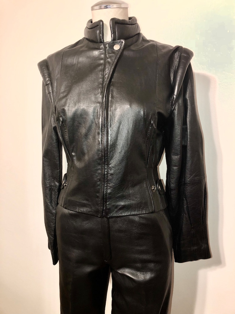 Vintage Boule de Neige Italian Designer Black Leather Moto Jacket and High Waisted Slim Fit Pants Suit 80/'s Style Funky Cool Chic