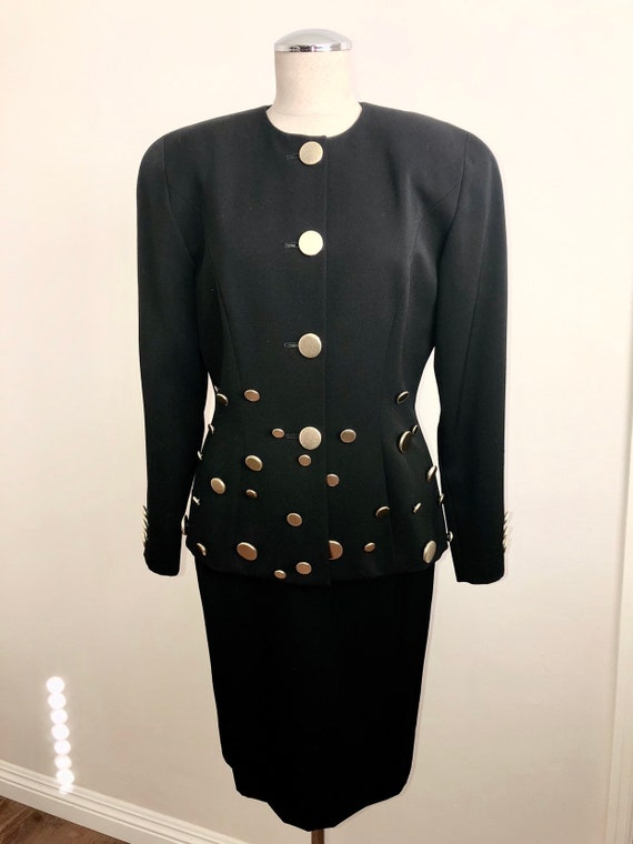 Vintage Rappings Black Two Piece Wool Skirt Suit w