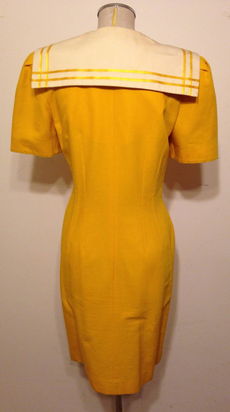Vintage Warren Petites Yellow and White Double Breasted Trench Style Dress Rockabilly Pin up Perfect