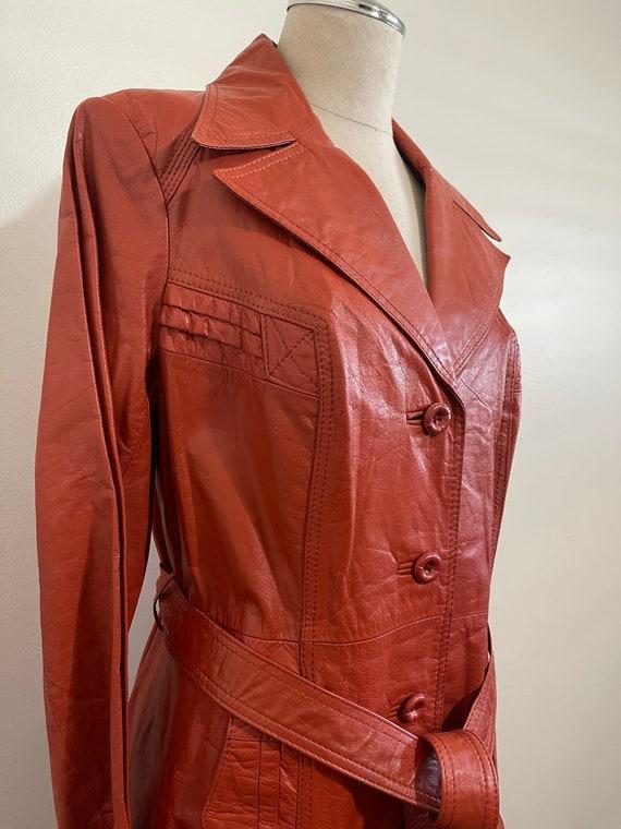 Vintage 1970's Ms. Pioneer Genuine Leather Orange… - image 3