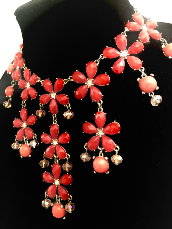 Coral Flowers Multi Layer Bib Necklace
