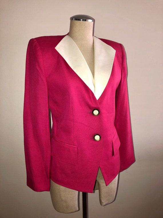 Vintage Albert Nipon Hot Pink Blazer Suit Jacket