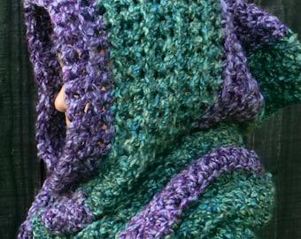 EASY CROCHET PATTERN, Hooded Scarf, Hoodie, Scoodie, diy crochet pattern, diy hooded scarf