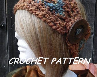 Crochet Headband Pattern, DIY, Crochet Pattern, Chunky Headband, Bohemian Headwrap