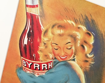 Vintage Alcohol Poster | Vintage Print | Retro Poster | Byyrh Art | Wall Art | Wall Decor | Vintage Magazine Advertising | Gift for her