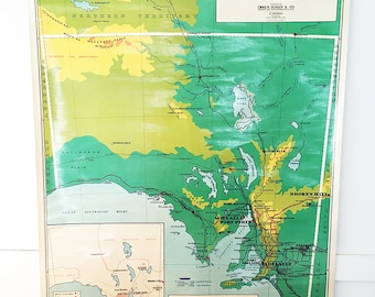 map vintage map school map south australia map adelaide map wall