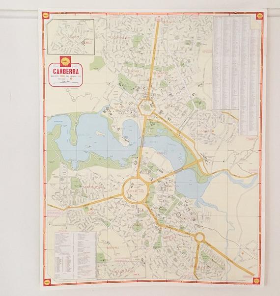 Australia Canberra Map.Vintage 1960s Canberra Map Vintage Australia Map Gift For Etsy