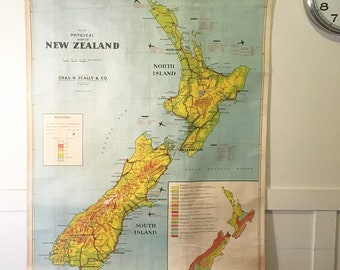 Vintage New Zealand Map | Vintage Map | Wall Art | Wall Decor | Housewarming Gift | Vintage Map Poster | Gift for husband | Gift for her NZ