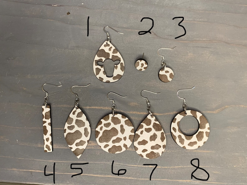 Laser Engraved Stud and Dangle Cow Print Earrings Laser Engraved Cow print Earrings Glowforge Earrings