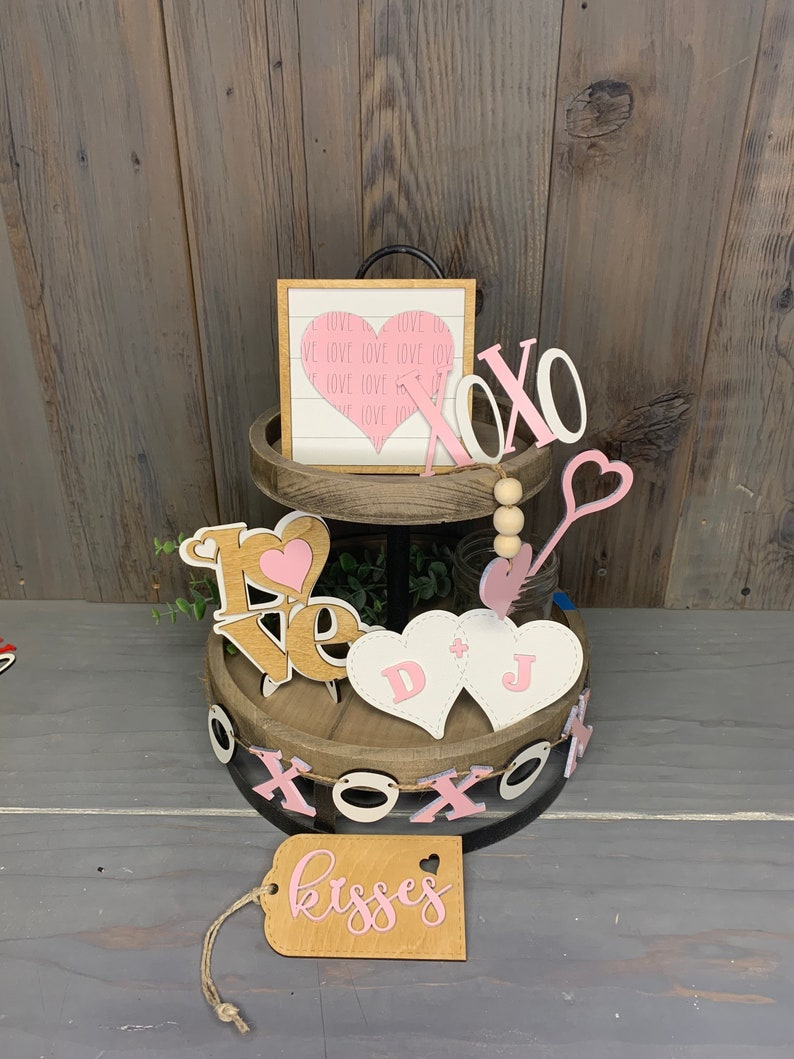 XOXO Valentine Pink /& White Tiered Tray Set Valentine Tier Tray Tier Tray Decor Holiday Tiered Tray Love Mini Signs Free Shipping