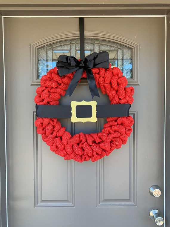 Christmas Santa Wreath, Winter Wreath and Decor, Free Shipping, Red Burlap Wreath, Home Decor, Front Door Wreath
