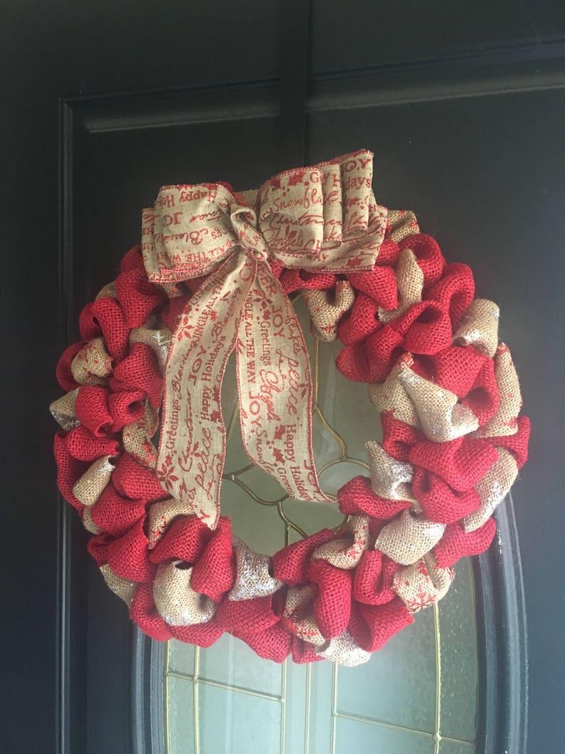Winter Wreath and Decor Snowflake Burlap Home Decor Christmas Holiday Wreath Red Burlap Wreath Front Door Wreath