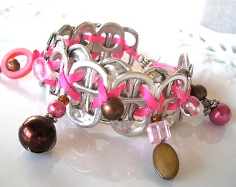 Beaded POP TAB BRACELET - Raspberry Truffle - pink and brown - teens and women - upcycled/recycled/eco-friendly jewelry - under 20.00