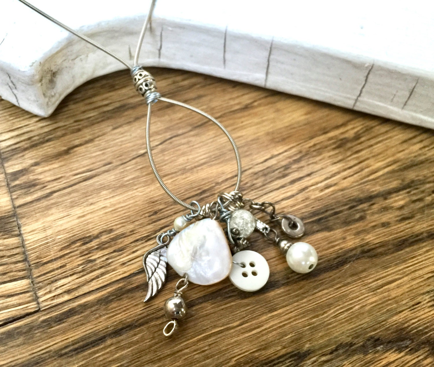 charm necklace guitar string necklace silver with pearls etsy. Black Bedroom Furniture Sets. Home Design Ideas