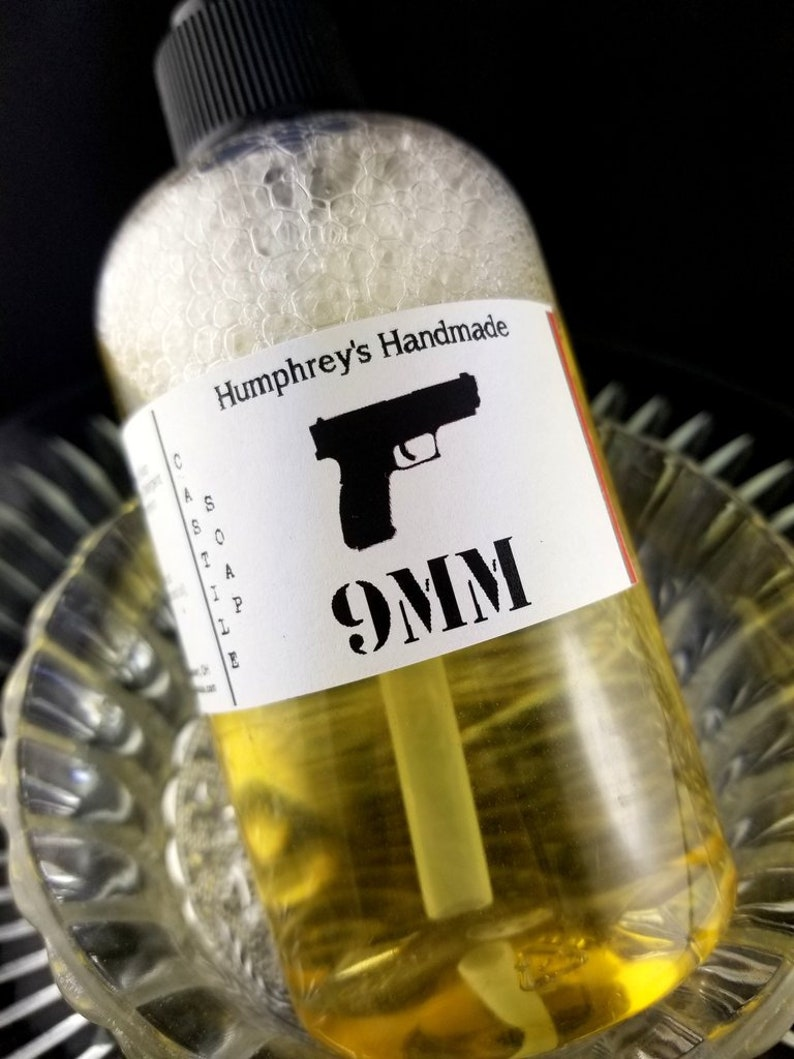 9MM Coffee and Leather Castile Soap, Men's Beard Wash & Body Wash, 8 oz,  Shampoo Hand Soap, Gentleman Pro Gun 2A, Liquid Hand Soap